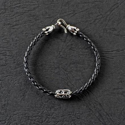 PJ Dagger Leather Bracelet  / Black