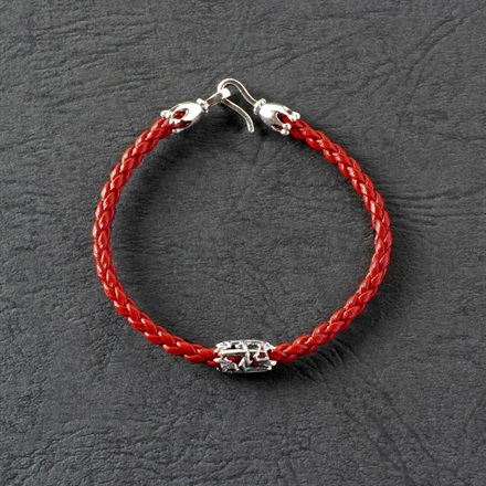 PJ Dagger Leather Bracelet / Red