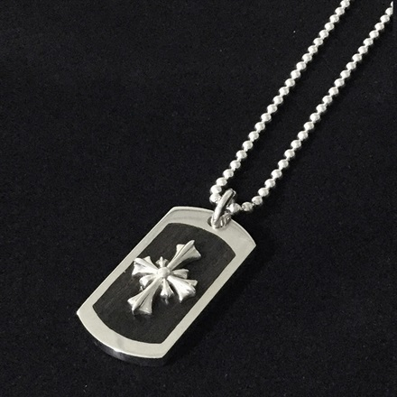 Wood Dog Tag w/Large Silver Cross(復刻版)
