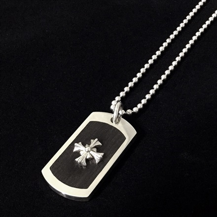 Wood Dog Tag w/Small Silver Cross(復刻版)
