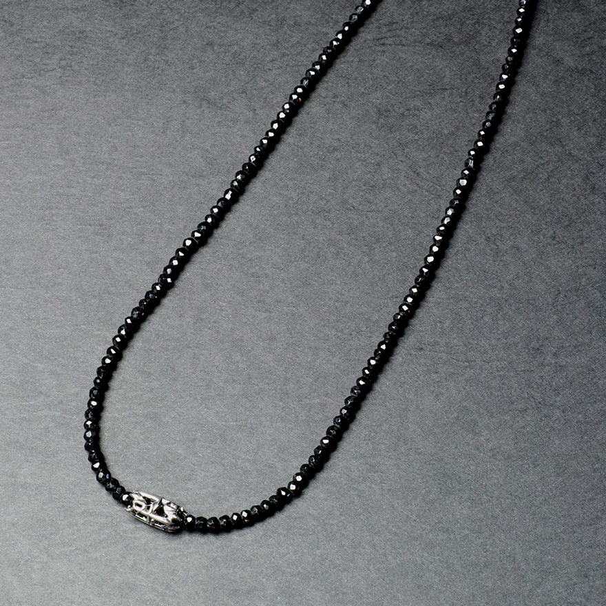 Black Spinel Necklace w/PJ Dagger SILVER×1